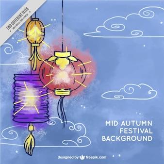 Aquarelle fond des lanternes et des nuages dessinés à la main