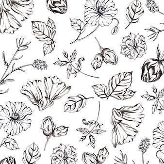 Aquarelle fond noir et blanc à motifs floraux