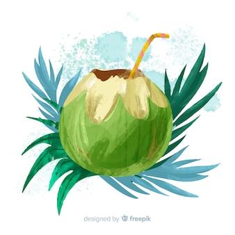 Aquarelle fond de noix de coco