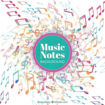 Aquarelle fond de notes musicales colorées