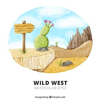 Aquarelle fond de l'ouest sauvage avec la végétation et panneau en bois