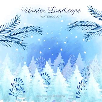 Aquarelle fond de paysage d'hiver