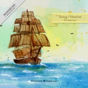 Aquarelle fond de paysage avec navire antique