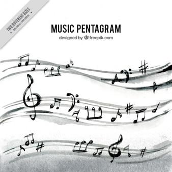 Aquarelle fond de pentagramme avec les notes musicales