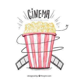 Aquarelle fond de popcorns