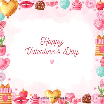Aquarelle fond saint valentin