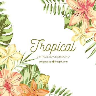 Aquarelle fond tropical avec style vintage