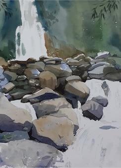 Aquarelle fontaines et roches pierre