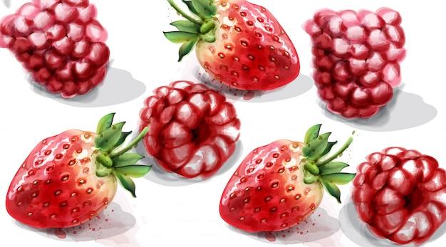 Aquarelle framboise et fraise