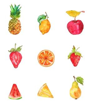 Aquarelle de fruits topique