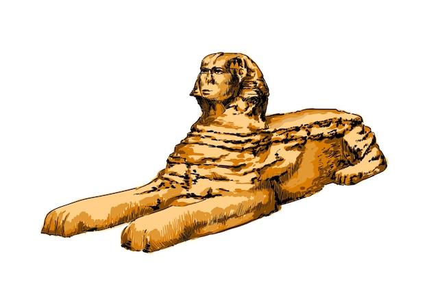 Aquarelle grand sphinx de gizeh sur blanc