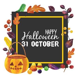 Aquarelle halloween avec un cadre noir.