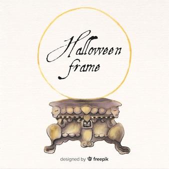 Aquarelle halloween fond de cadre d'or