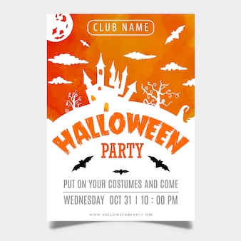 Aquarelle halloween party poster design