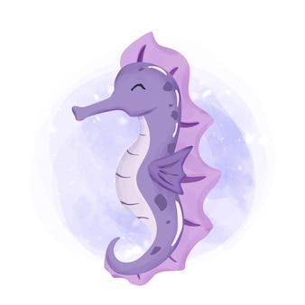 Aquarelle d'hippocampe de sourire d'animal de mer