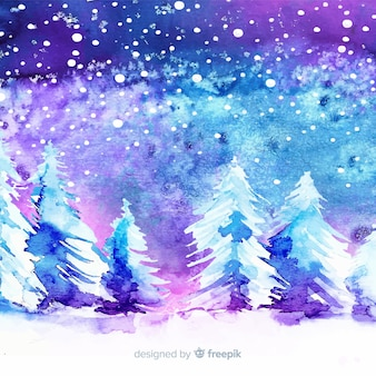 Aquarelle hiver fond avec des arbres