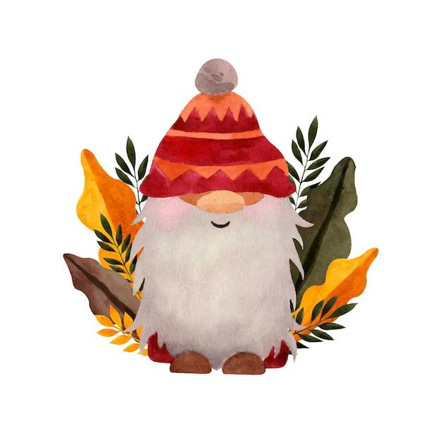 Aquarelle hiver gnome nordique en tissu rouge avec des feuilles