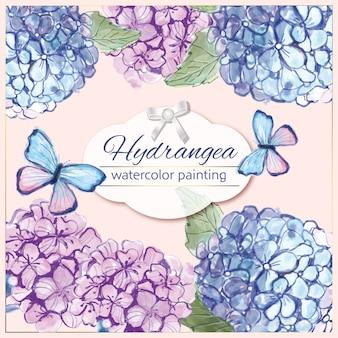 Aquarelle hortensia