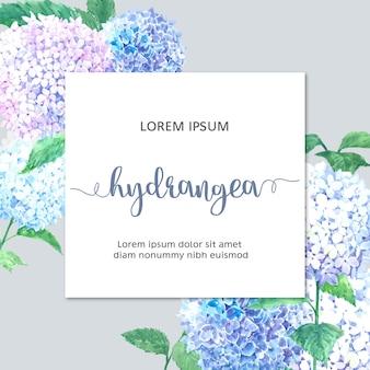 Aquarelle hydrenyia fleurs carte