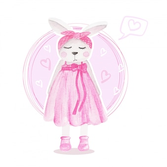 Aquarelle illustration jolie fille lapin rose