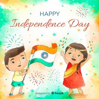 Aquarelle inde fond de la fête de l'indépendance