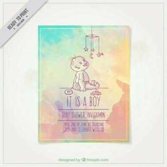 Aquarelle invitation de baby shower