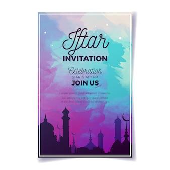 Aquarelle d'invitation à une fête iftar