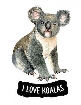Aquarelle j'aime koala