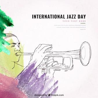 Aquarelle jazz fond avec trompette croquis