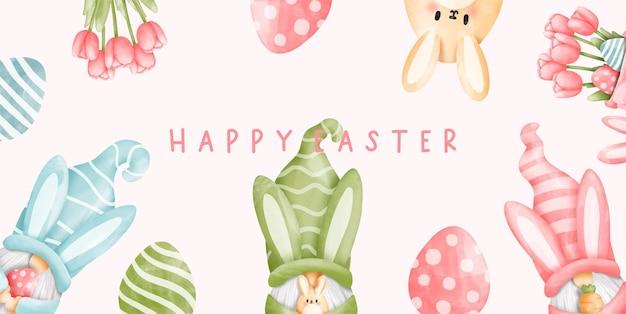 Aquarelle le jour de pâques avec lapin gnome et fleur de tulipe