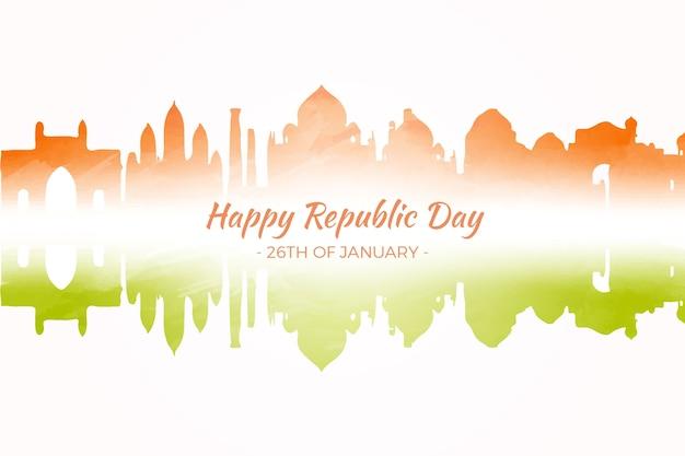 Aquarelle jour de la république indienne