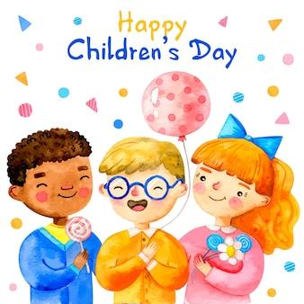 Aquarelle journée des enfants avec des confettis