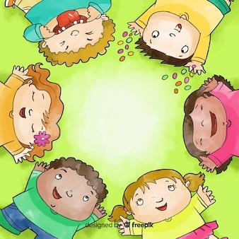 Aquarelle journée des enfants formant un cercle