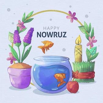 Aquarelle joyeuse célébration de nowruz
