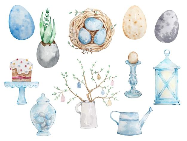 Aquarelle joyeuses pâques définir des éléments mignons