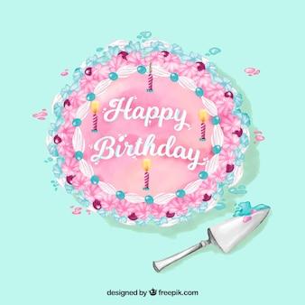 Aquarelle, joyeux anniversaire, gâteau, fond