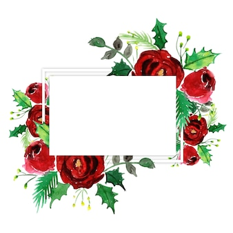 Aquarelle joyeux noël cadre floral