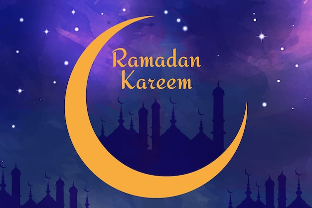 Aquarelle joyeux ramadan kareem dans la nuit