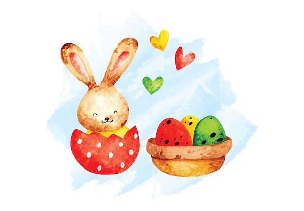 Aquarelle de lapin de pâques mignon.