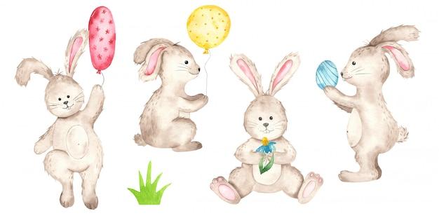 Aquarelle de lapins de pâques mignons
