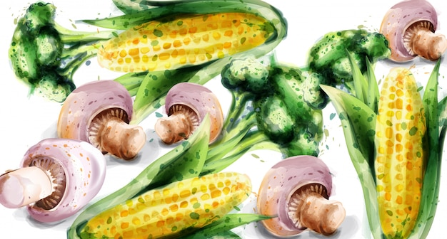 Aquarelle de légumes