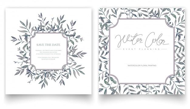 Aquarelle main peinture feuilles, carte d'invitation.