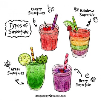 Aquarelle main smoothie aux fruits dessinée