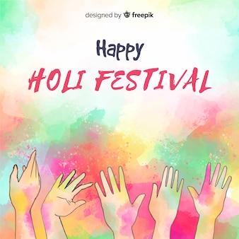 Aquarelle mains holi festival fond
