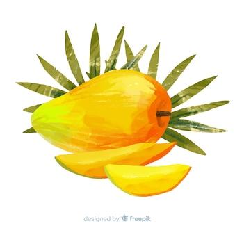 Aquarelle mangue et feuilles de fond
