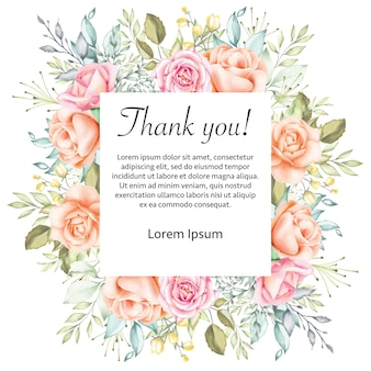 Aquarelle mariage floral merci cadre de carte