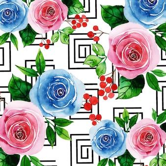 Aquarelle memphis floral background