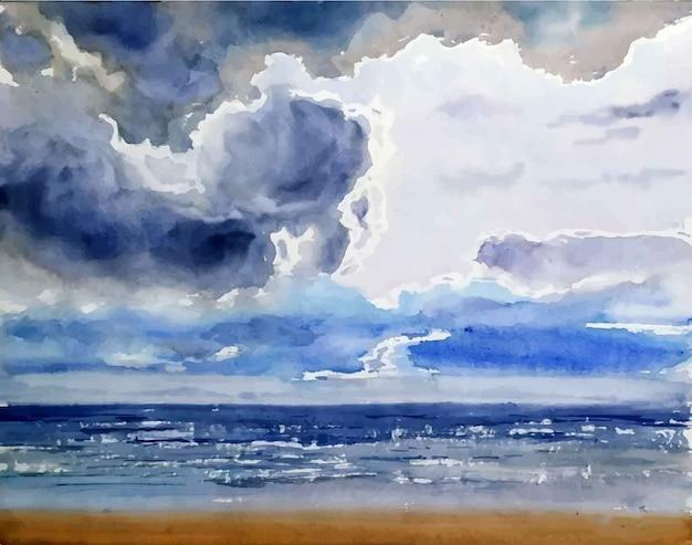 Aquarelle mer plage et ciel réflexion illustration dessinée à la main