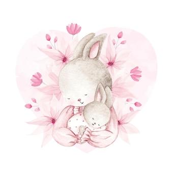 Aquarelle mère et bébé lapin