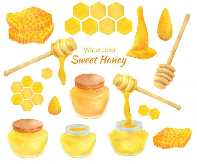 Aquarelle de miel sucré sertie de pots, de cuillères et de nids d'abeille